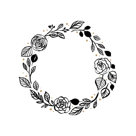 Black circular rose and leaf wreath pattern design Vectores