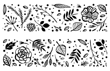Flower frame template. Floral botanical collection. Flowers, branches, and leaves in nature pattern. Hand drawn design elements. Vector illustration.