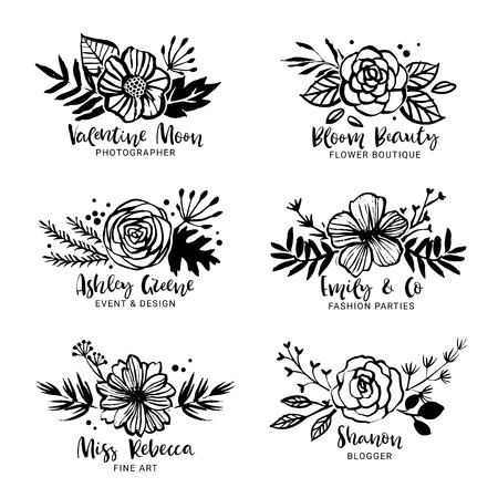 Flower icon template, floral botanical collection. Flowers, branches, and leaves. Hand drawn design elements, nature vector illustration.