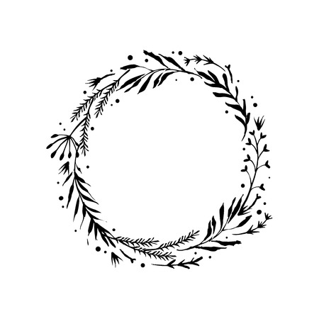 Floral rustic branch wreath for wedding invitation template design. Botanical hand drawn elements nature vector illustration.