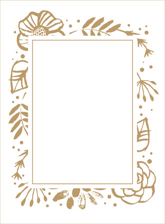 Flower frame template for wedding invitation and greeting card. Floral botanical collection. Flowers, branches, and leaves in nature pattern. Hand drawn design elements. Vector illustration.