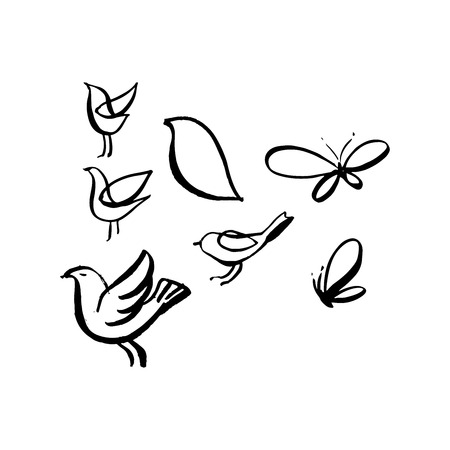 Hand sketched birds. Black cut silhouette on a white background. Hand drawn design elements. Vector illustration.  イラスト・ベクター素材