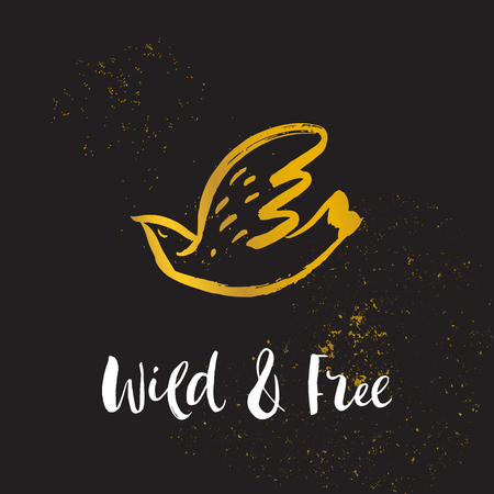 Wild and free. Hand sketched bird logo. Gold cut silhouette on a black background. Hand drawn design elements. Vector illustration.  イラスト・ベクター素材