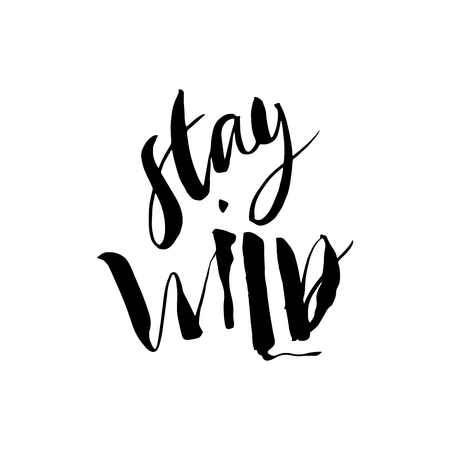 Stay Wild. Calligraphy motivation card with quote. Hand drawn design elements. Handwritten modern brush lettering. Vector illustration.