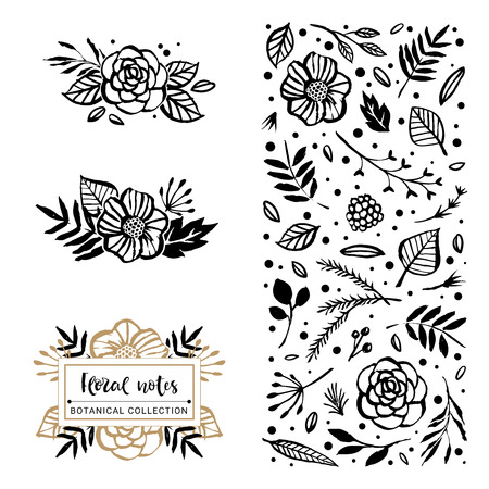 Flower logo template. Bloom beauty. Flowers, branches, and leaves in nature pattern. Hand drawn design elements. Vector illustration.