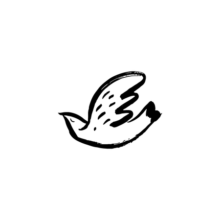 Hand sketched bird. Black cut silhouette on a white background. Hand drawn design elements. Vector illustration.  イラスト・ベクター素材