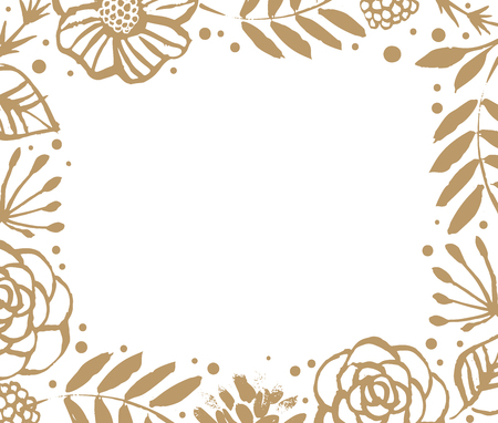 Flower frame template for wedding invitation and greeting card. Floral botanical collection.