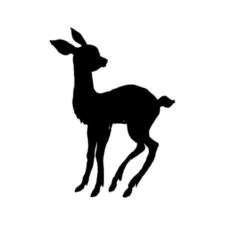 Little sweet deer. Black cut silhouette on a white background. Hand drawn design elements. Vector illustration. Illustration