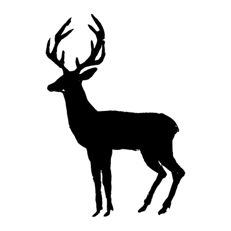 Deer. Black cut silhouette on a white background. Hand drawn design elements. Vector illustration. Illustration