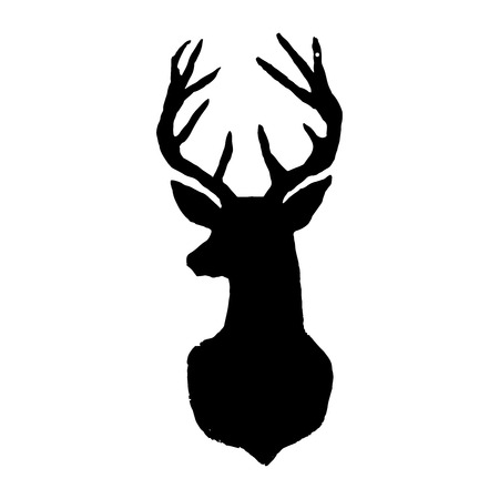Deer. Black cut silhouette on a white background. Hand drawn design elements. Vector illustration. Vettoriali