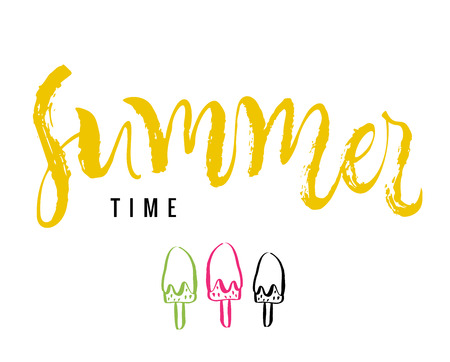 Summer time. Calligraphy greeting card with ice-cream. Hand drawn design elements. Handwritten modern brush lettering. Vector illustration.  イラスト・ベクター素材