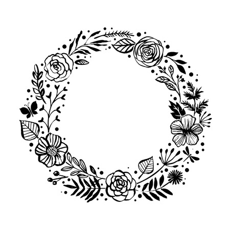 Floral rustic branches, flowers and leaves wreath for wedding invitation template design. Botanical hand drawn elements. Nature vector illustration.