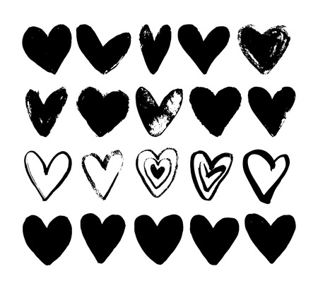 Hand drawn paint grunge brush hearts. Hand sketched design ink elements isolated on white background. Doodle vector decorative illustration.