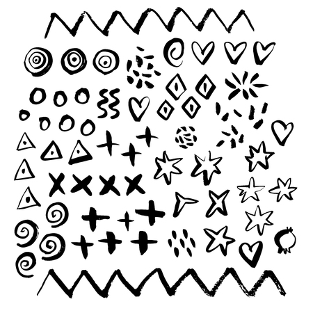 Hand drawn paint grunge brush geometrical elements. Hand sketched design ink shapes isolated on white background. Doodle vector decorative illustration.  イラスト・ベクター素材