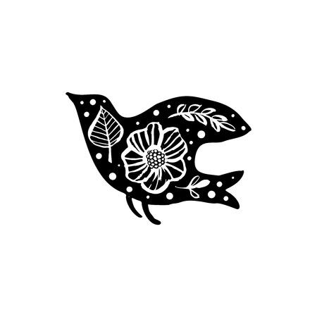 Bird silhouette with floral pattern. Hand drawn design elements. Vector illustration. Nursery scandinavian art.