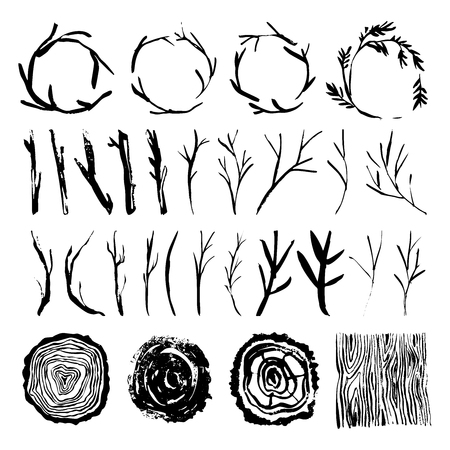 Rustic wood tree branches and wreaths. Wooden background and stub. Hand drawn design elements. Nature vector illustration.  イラスト・ベクター素材