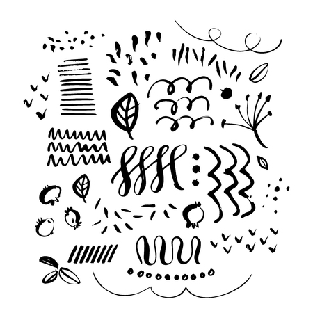 Hand drawn paint grunge elements. Hand sketched design ink shapes isolated on white background. Doodle vector decorative illustration.