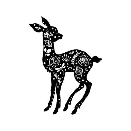 Silhouette of little baby deer, fawn with flower pattern. Hand drawn design elements. Vector illustration. Nursery scandinavian art.