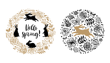 Hello spring. Silhouette of a rabbit in the flower circle and wreath. Calligraphy card. Hand drawn design elements. Handwritten modern brush lettering. Vector illustration.  イラスト・ベクター素材