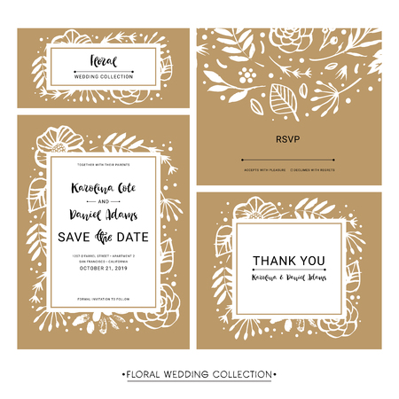 Save the Date. Wedding invitation calligraphy floral cards with catchwords. Modern lettering. Hand drawn design elements. Vector illustration.