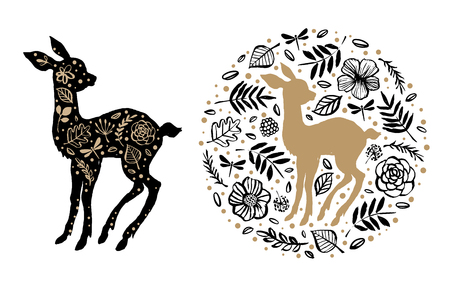 Silhouette of little sweet baby deer, fawn with flower pattern in the floral circle. Hand drawn design elements. Vector illustration. Nursery scandinavian art. Ilustração