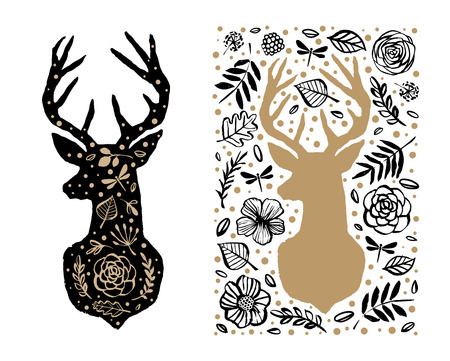 Silhouette of deer in the flower pattern. Hand drawn design elements. Black and white vector illustration. Nursery scandinavian art. Ilustração