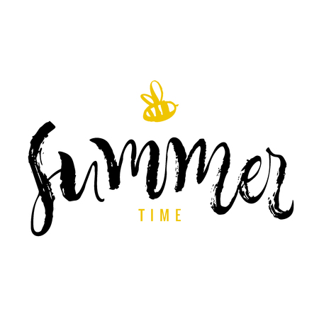 Summer time. Calligraphy greeting card with yellow bee. Hand drawn design elements. Handwritten modern brush lettering. Vector illustration.  イラスト・ベクター素材
