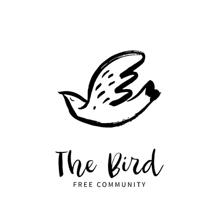 Free bird. Hand sketched bird logo. Black cut silhouette on a white background. Hand drawn design elements. Vector illustration.  イラスト・ベクター素材