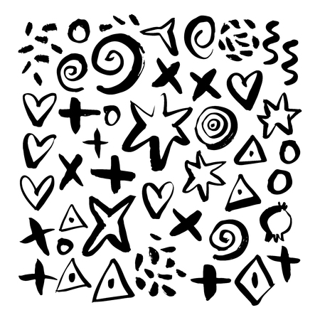 Hand drawn abstract elements. Hand sketched design ink shapes isolated on white background. Doodle vector decorative illustration.
