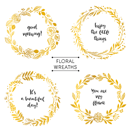 Gold flower wreaths card with inspirational quote. Hand drawn design elements. Handwritten modern lettering. Floral pattern vector illustration.
