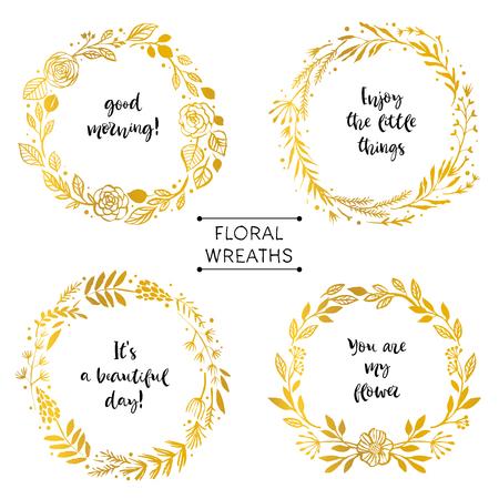 Gouden bloemkransen kaart met inspirerend citaat. Hand getrokken ontwerpelementen. Handgeschreven moderne letters. Bloemmotief vectorillustratie. Vector Illustratie