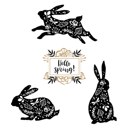 Hello spring. Running, sitting and standing silhouette of a rabbit with flower pattern. Calligraphy card. Hand drawn design elements.  イラスト・ベクター素材