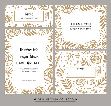 Collection of modern design wedding invitation cards. Save the date, Thank you and RSVP. Hand drawn flowers, lettering and calligraphy elements. Vector illustration.