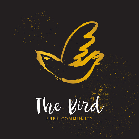 Free bird. Hand sketched bird logo. Gold cut silhouette on a black background. Hand drawn design elements. Vector illustration.  イラスト・ベクター素材