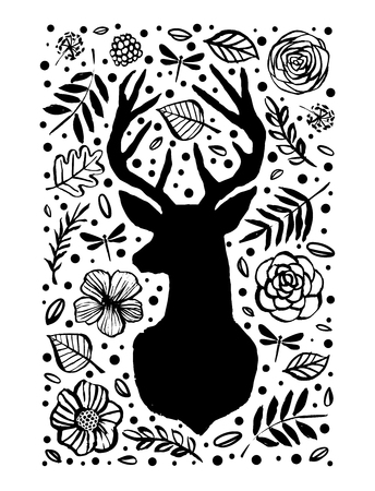 Silhouette of deer in the flower pattern. Hand drawn design elements.
