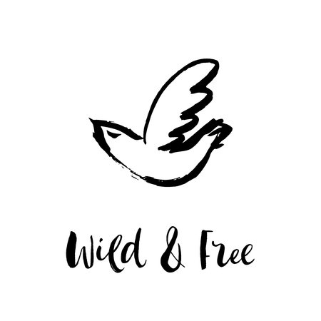 Wild and free. Hand sketched bird logo. Black cut silhouette on a white background. Hand drawn design elements. Vector illustration.