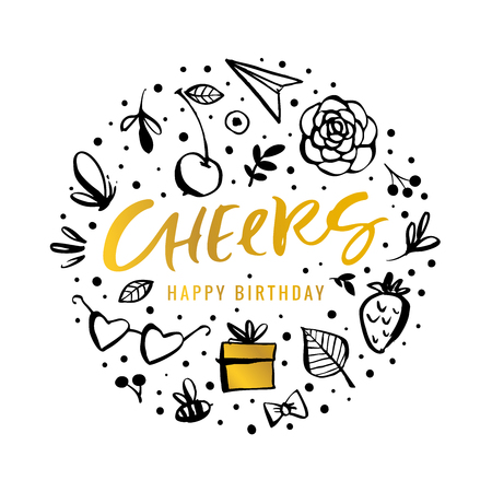 Cheers. Happy Birthday. Calligraphy greeting card with golden gift box, flower, butterfly, cherry, bee. Hand drawn design elements. Handwritten modern brush lettering. Vector illustration.  イラスト・ベクター素材