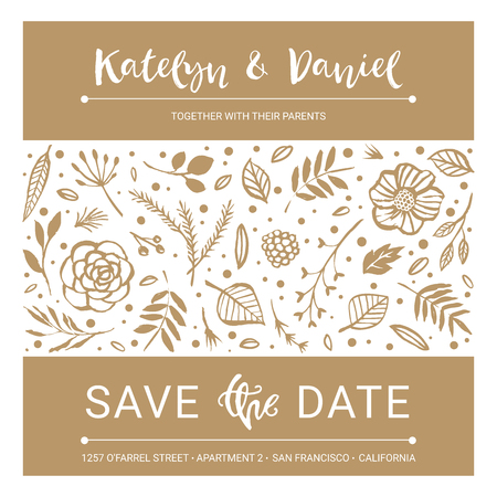 Save the Date. Wedding invitation calligraphy floral card with catchwords. Modern lettering. Hand drawn design elements. Vector illustration.