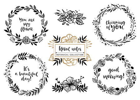 Flower bouquets, wreaths with inspirational quotes. Floral botanical elements. Hand drawn illustration. Nature vector design.