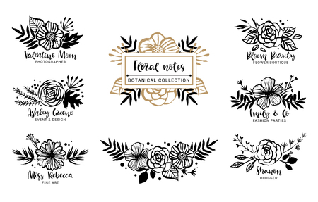 Flower logo template. Floral botanical collection. Flowers, branches, and leaves. Hand drawn design elements. Nature vector illustration.  イラスト・ベクター素材