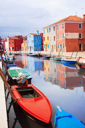 burano: Colorful canal, Burano, Italy Stock Photo