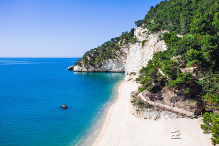 Wild beach in the Gargano Baia delle Zagare beach, Italy
