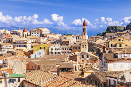 town house: View of the Corfu town, Greece Stock Photo