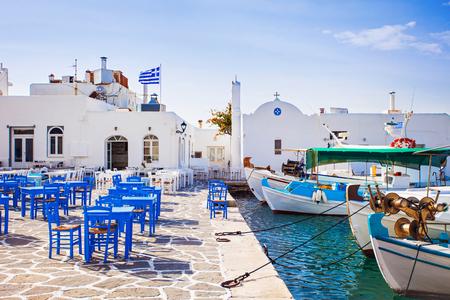파로스, Naoussa의, 그리스 그리스 낚시 마을 스톡 콘텐츠