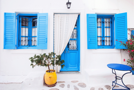 Traditional greek house facade, Greece