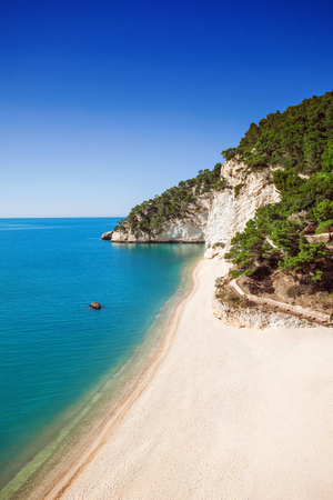 Wild beach in the Gargano Baia delle Zagare beach, Italy