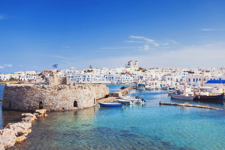 panorama: Picturesque Naousa village, Paros island, Cyclades, Greece