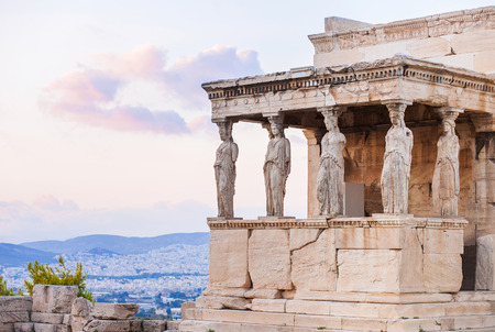 Detail of Erechtheion in Acropolis of Athens, Greece