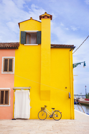 Burano: Colorful street in Burano, Italy