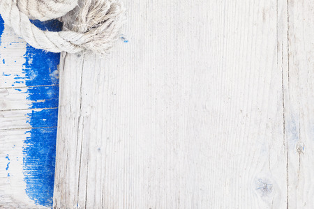 Wooden background with sailing rope Stock Photo